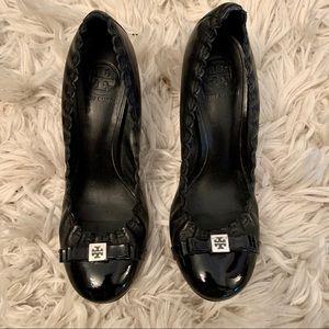 Tory Burch black leather high heeled shoes heels